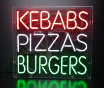 Kebabs Pizzas Burgers Neon Sign
